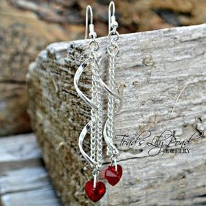 Jewelry - Silver spiral earrings red heart Swarovski crystal